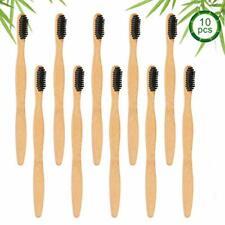 Lot 10 Brosses à Dents en Bambou Avec Poudre Charbon Actif Biodégradable Durable