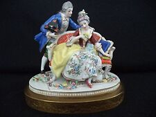 Dresden style china figurine 8in man woman shy lady w/ lover painted porcelain