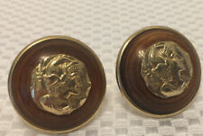 Unusual Vintage Cufflinks Wood/Metal Depicting Roman Soldiers