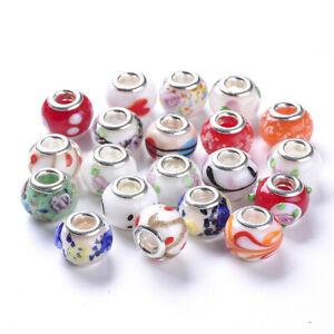 50pcs Handmade Lampwork European Large Hole Rondelle Beads Double Cores 14x11mm