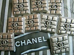 💕💕CHANEL 9 silver CC LOGO BUTTONS SQUARE 20 MM X 20MM NEW BRICK STYLE LOT 9