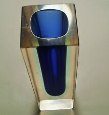 ELECTRIC BLUE mcm sommerso murano table art mini glass bud vase italian atomic
