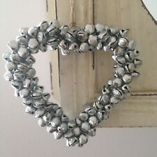 Shabby Chic Christmas Silver Mini Bells Hanging Heart Home Decoration
