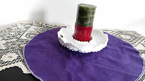 Fenton ash tray candle holder chip; dip dish ruffled rim hob nail milk glass 2 c