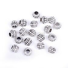Wholesale 20pcs Antiqe Silver Stone Round Findings Diy Fit Charm Beads 8x6mm