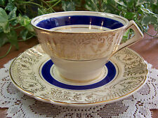 MYOTT STAFFORDSHIRE England Floral Boquet, Blue Band, Gold Filigree CUP & SAUCER