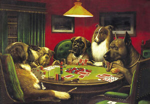 Dream-art hand painted Oil painting abstract cassius coolidge dogs playing poker