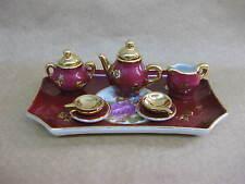 Limoges Miniature Tea Set ~ Teapot, Jug, Bowl, 2 Cups & Saucers & Tray ~ Lovers