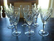 6 x  VINTAGE crystal STEMMED WINE glasses 16 cms high x 6.5 cm across