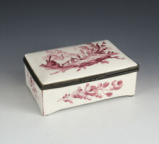 Continental Hand Painted Porcelain Rectangular Dresser Box, 19th Century