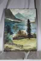 Öl , Aquarell auf Holz - Landschaft + Berge - signiert + datiert /S206