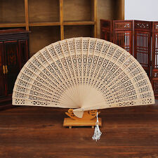 Sale Wooden Folding Hollow Carved Hand Fan Flower Wedding Bridal Party Gift