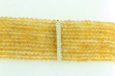 14K Yellow Gold Bar Orange Citrine Beads 6 Rows White Round Diamonds Bracelet 7""