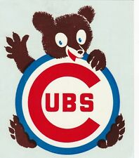 "Vintage 1960's Chicago Cubs J.G. Barron Decal Co 3 1/2"" x 4 1/4"" Baseball Decal"