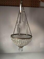 Hollywood Regency Style Crystal & Filigreed Bronze Basket Chandelier Need Repair
