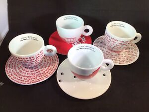 Set 4 illy Art Collection 2014 Espresso Cappuccino Cup & Saucer Watermill Center