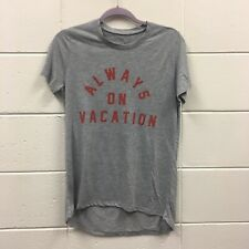 Zoe And Liv Women's Always On Vacation Graphic Tee Heather Gray Sz M High Low