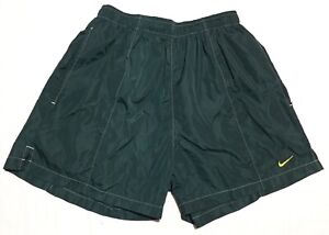 VTG Nike Swoosh Shimmer Green Yellow Lined Swim Trunks - Mens L Fits M Baggies