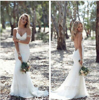 Sexy Backless Wedding Dress White/Ivory Mermaid Lace Bride Gown Custom Size 6-20