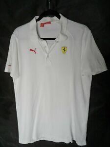 """Scuderia Ferrari Polo Shirt Tee Top White Size M Pit to Pit 20"""""""