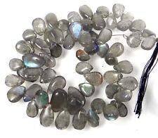 "7-9mm Glow Blue Labradorite Teardrop Beads 8"""