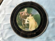 Gorgeous CHIMNEY FLUE COVER German VICTORIAN COUPLE Bench Round Glass Vintage