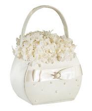 Scattered Pearl Basket-Ivory flower girl basket
