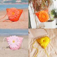 Women's Straw Sunflower Tote Handbag Bags Gril Beach Clutch Single Shoulder Bags