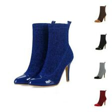 Elegant Women Stretch Sequins Pointy Toe Stilettos High Heel Ankle Boots Party D