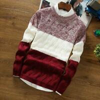 Men's Jumper Sweater Pullover Long Sleeve Knitting Shirt Knitwear Tops Casual H