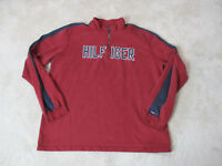 VINTAGE Tommy Hilfiger Quarter Zip Sweater Adult 2XL XXL Red Blue Spell Out 90s