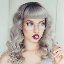OVERSIZED CLEAR LENS FASHION GLASSES METAL SILVER FRAME ROUND LARGE CIRCLE NERDY