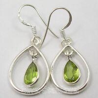 """6 x 9 mm GREEN PERIDOT tcw 3.0 ! 925 Solid Silver Women's Earrings Gift 1.4"""""""