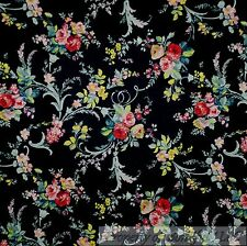 BonEful Fabric Cotton Quilt Black Pink Teal Blue Green Leaf Flower Rose 99 SCRAP