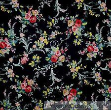 BonEful Fabric FQ Cotton Quilt Black Pink Teal Blue Green Leaf Flower Rose Bud S