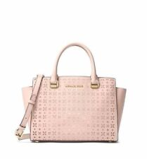 NWT Michael Kors Selma Perforated Floral MD Saffiano Leather Satchel Soft Pink