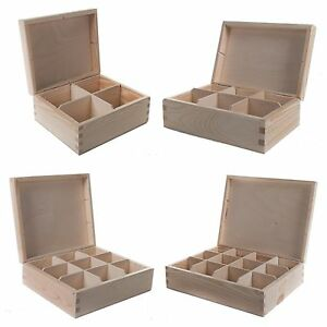 4/6/8/9/12 Compartments Wood Jewellery Storage Chest Boxes / Wooden Tea Bag Box
