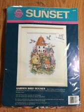 "Opened Dimensions Sunset Stamped Cross Stitch Kit Garden Bird Houses 10"" x 14"""