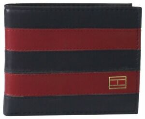Tommy Hilfiger  Classic Mens Leather Bifold Wallet Passcase Navy Burgundy
