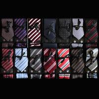 Men's Fashion 100% Silk  Neckties Tie, Cufflinks & Handkerchief Set  Stripes Dot