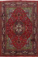 7x10 Medallion Hand-Knotted Tebriz Traditional Floral Area Rug Oriental Carpet