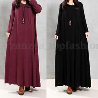 ZANZEN S-5XL Plus Womens Vintage Crew Neck Cotton Kaftan A-Line Long Maxi Dress