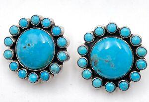 Federico Jimenez Blue Turquoise Flower Cluster Post Back Earrings