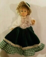 """All PORCELAIN DOLL GIRL Green Country dress & Hat 5"""" Irish? handcrafted"""