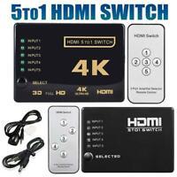 5 To 1 HDMI Splitter Selector Switch Full HD 1080p 3D 2K 4K IR Remote Hub Top