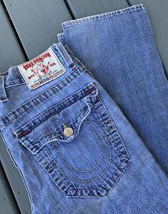 True Religion NATHAN Jeans Mens 32 x 34 Straight Big T Flap Denim Light EUC