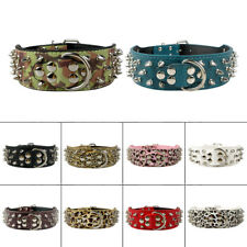 "2.0"" Wide Adjustable Spiked Studded Leather Dog Collar for Pitbull Boxer Mastiff"