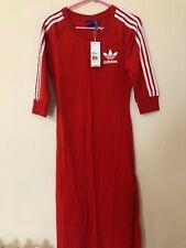 Adidas Red Midi Bodycon Track Dress Three Stripe Uk 14 16 M L