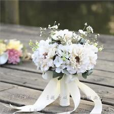 Vintage Artificial Satin Wedding Bridal Bouquet Bride/Bridesmaid Hand Flower New