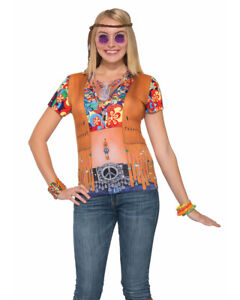 Women's 60s Peace Time Hippie Printed Costume Sublimation Shirt Medium 8-10